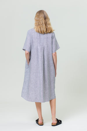 Linen Dress JŪRA white and blue stripes