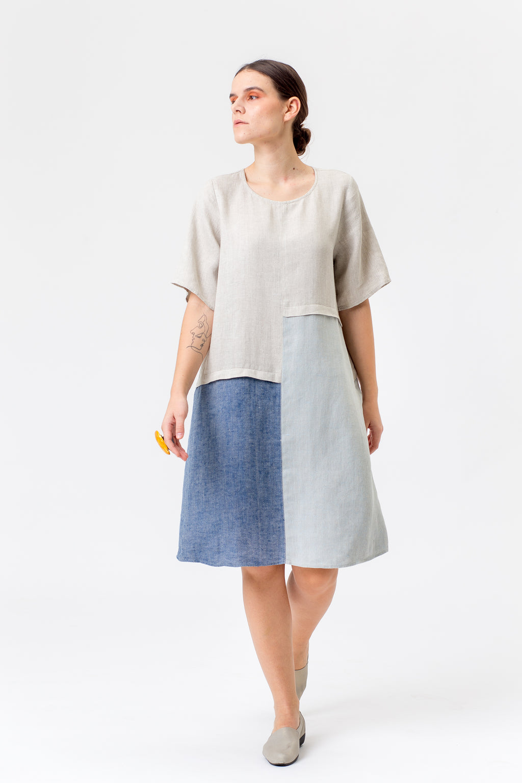 Linen Dress POLĖ blue/beige