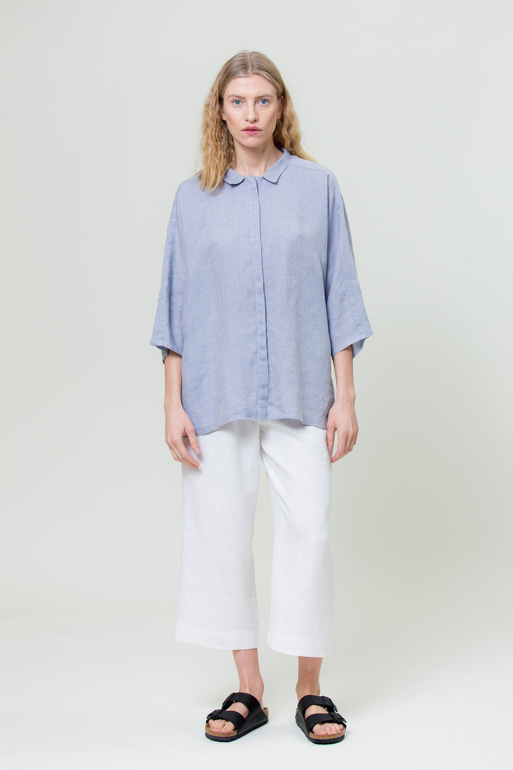 Linen Shirt GINTĖ sunset sky blue