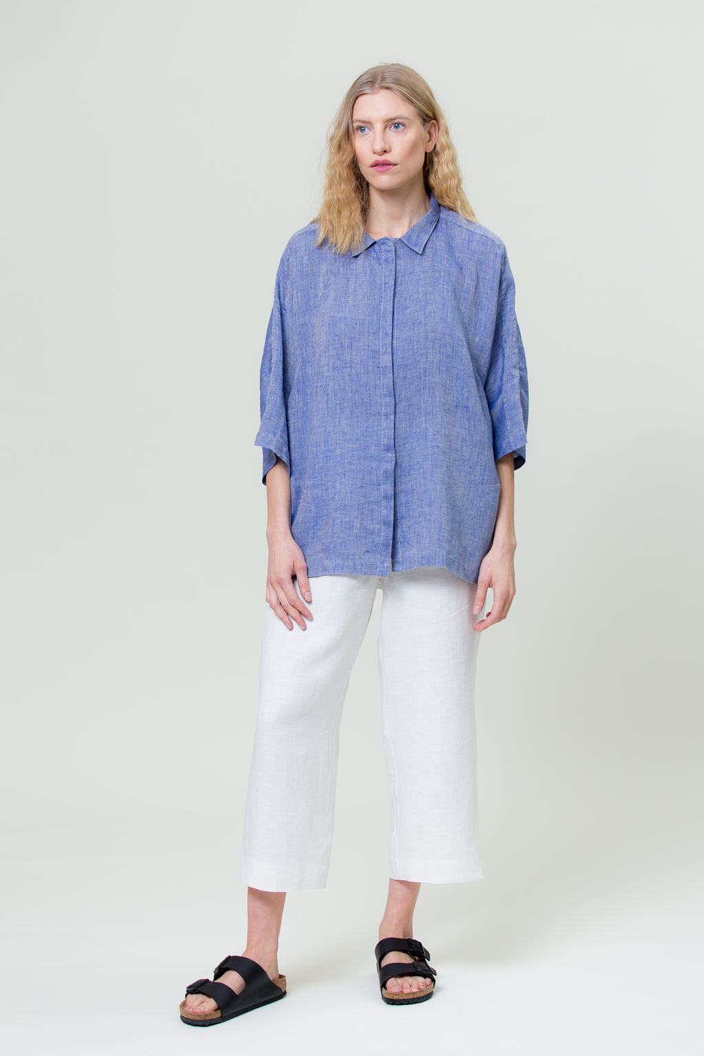 Linen Shirt GINTĖ sunset navy