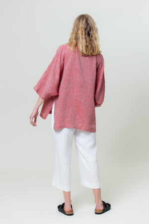 Linen Shirt GINTĖ sunset red