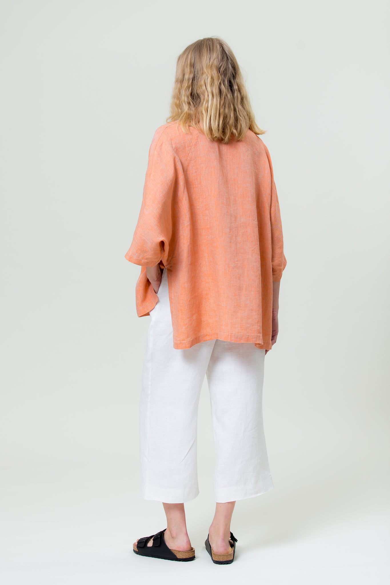 Linen Shirt GINTĖ sunset orange