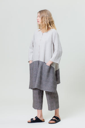 Linen Shirt IEVA sand and graphite grey