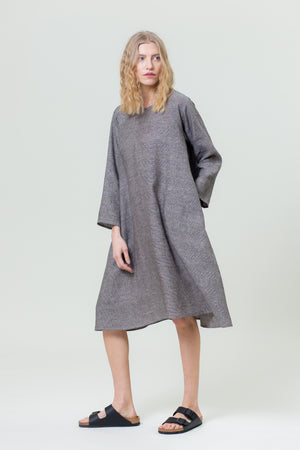 Linen Dress GIEDRĖ graphite grey