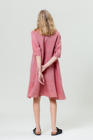 Linen Dress JURGA sunset red