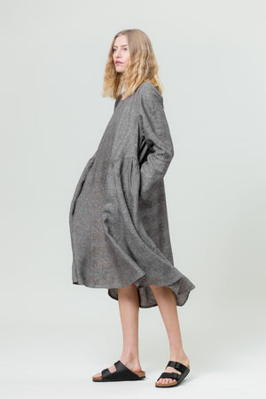 Linen Dress AISTĖ graphite grey