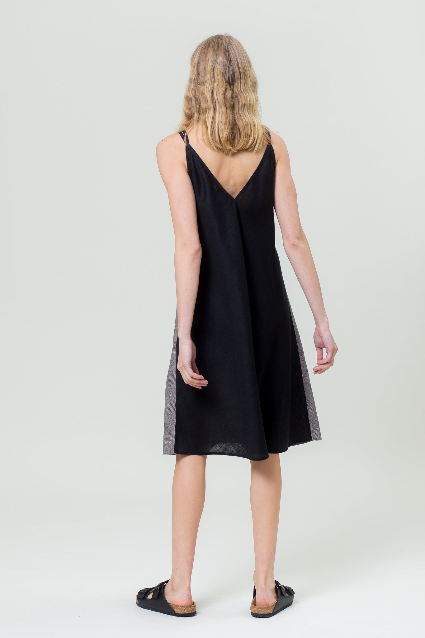 Linen Dress SIMA grey and black