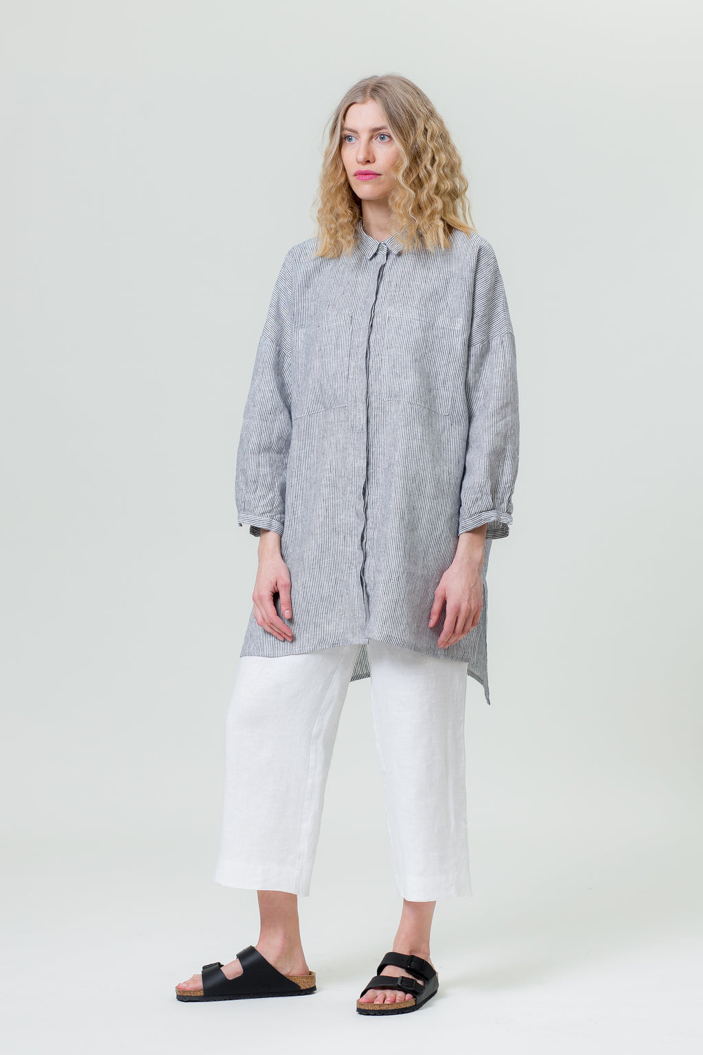 Linen Shirt VANDA white and blue stripes