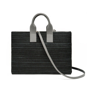Handwoven Office Bag AUSTĖ #32 black leather and linen