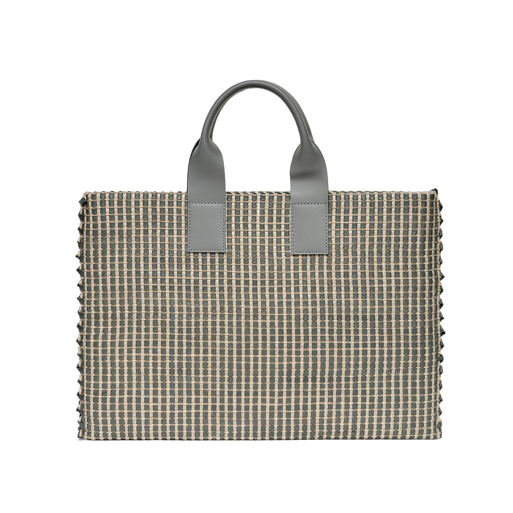 Handwoven Office Bag AUSTĖ #32 light grey leather and linen