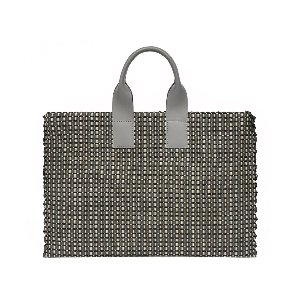 Handwoven Office Bag AUSTĖ #32 dark grey leather and linen