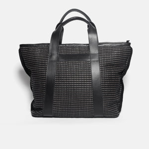 Handwoven Traveling Bag AUSTĖ #37 black leather and linen