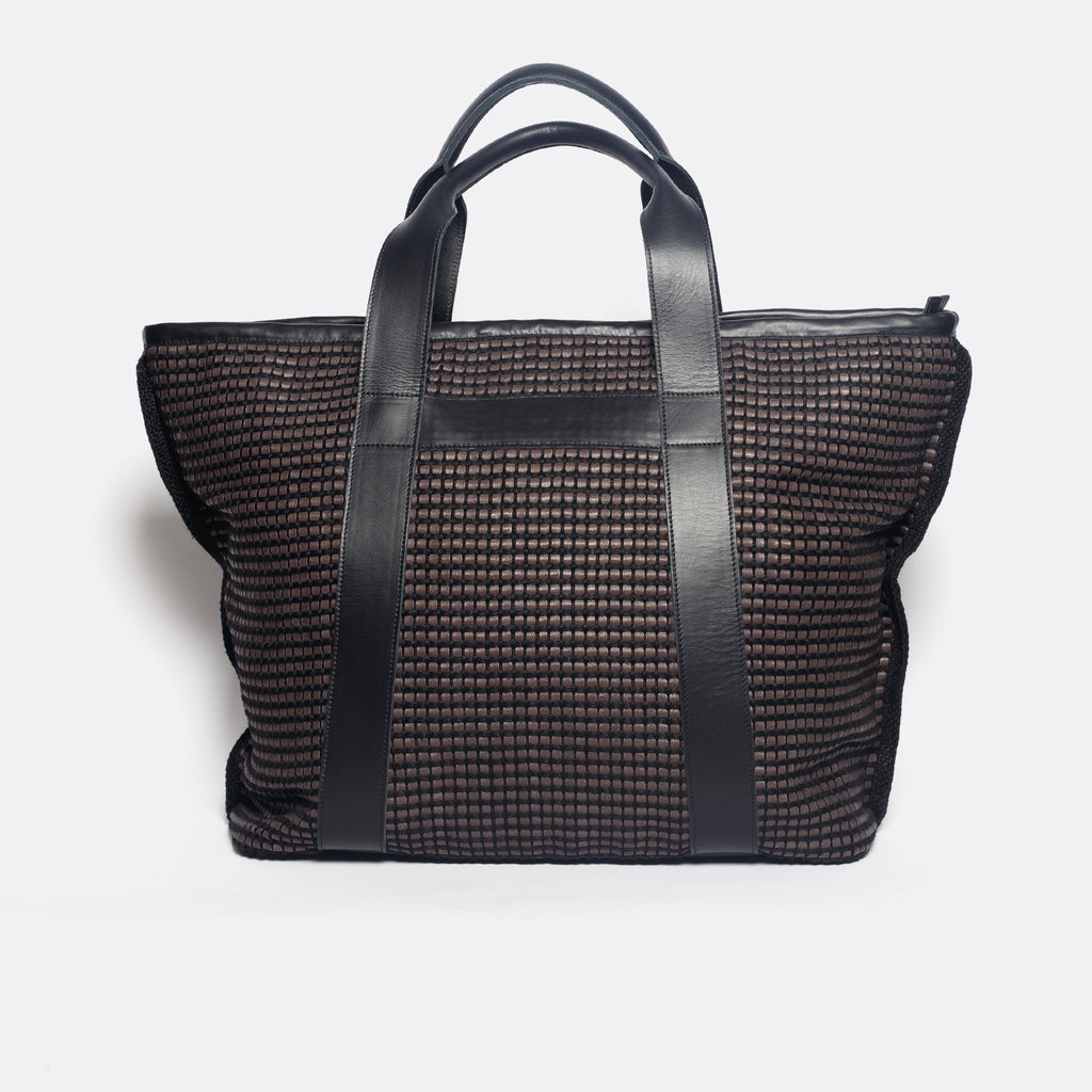 Handwoven Traveling Bag AUSTĖ #37 choco leather and linen