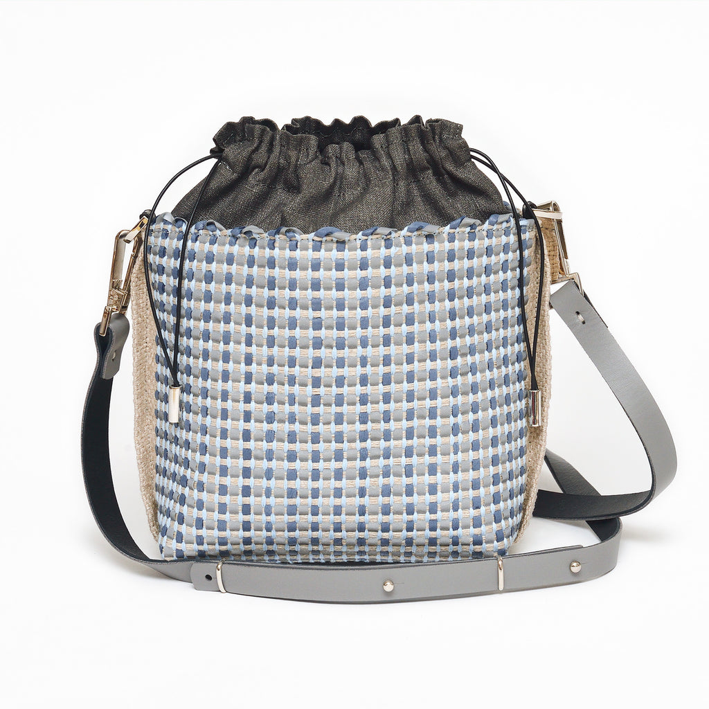 Handwoven Bag AUSTĖ #40 blue leather and linen