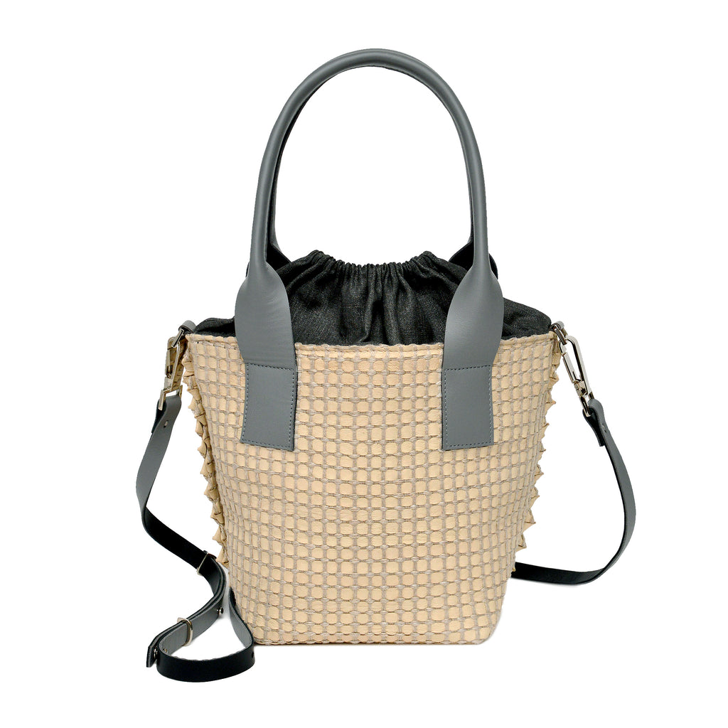 Handwoven Bag AUSTĖ #41 pearl beige leather and linen