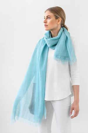 Light Linen Scarf LUKA sea blue