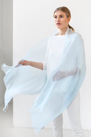 Light Linen Scarf LUKA sky blue