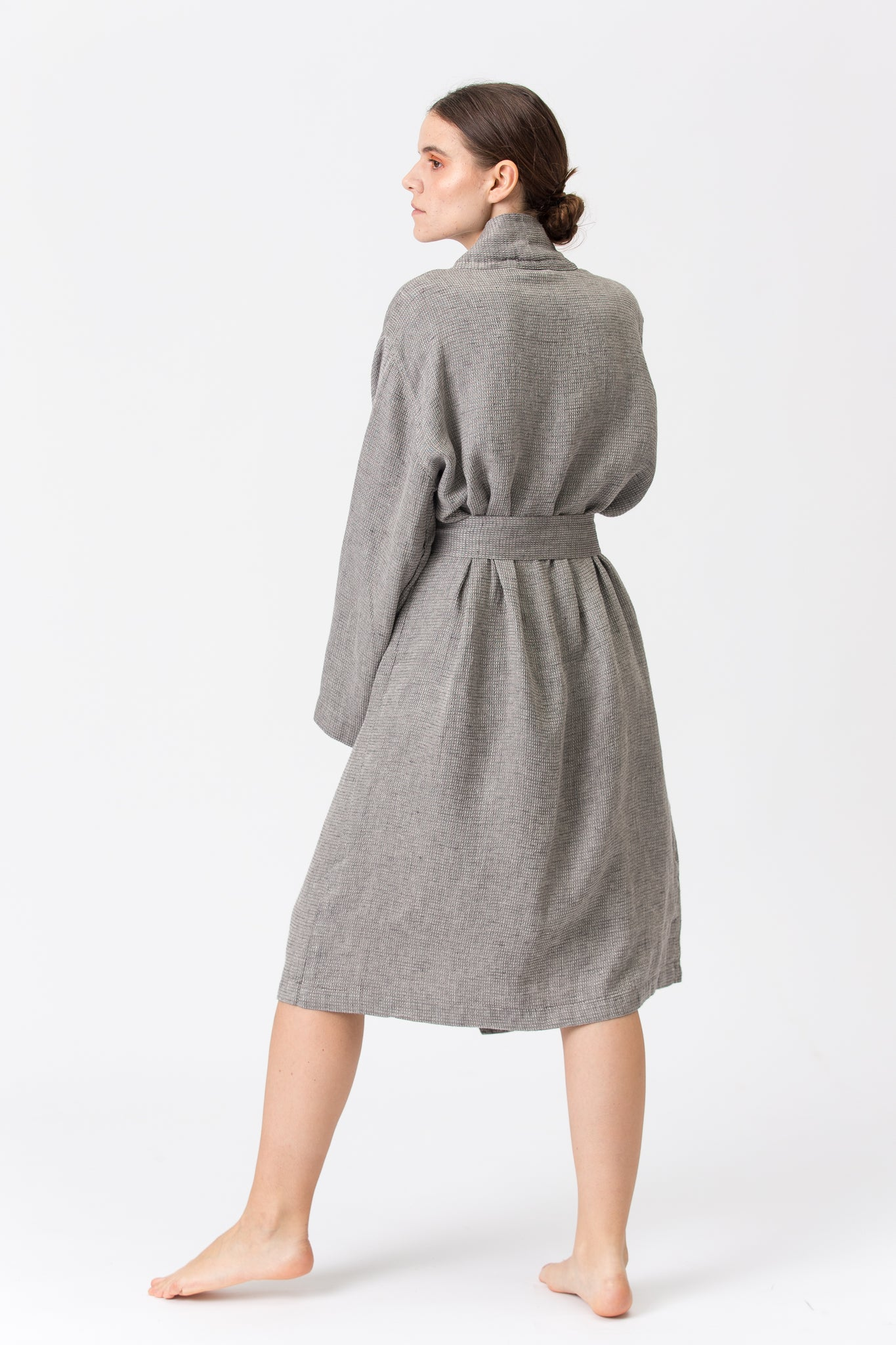 Linen Kimono-Bathrobe SMILTĖ graphite grey