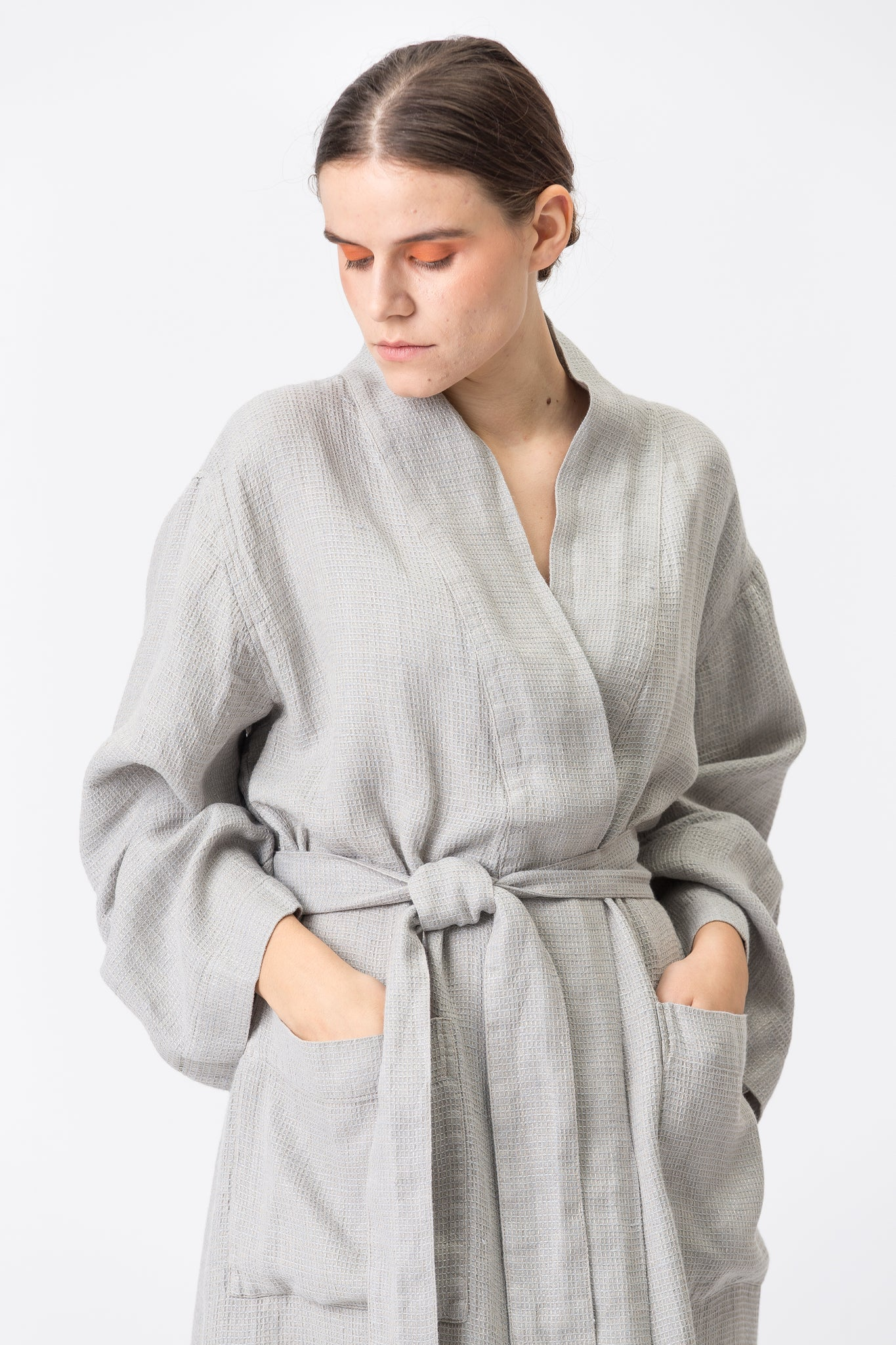Linen Kimono-Bathrobe SMILTĖ smoke grey
