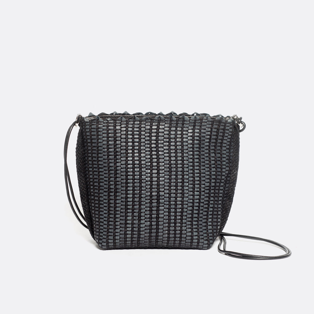 Handwoven Bag AUSTĖ #36 black leather and linen