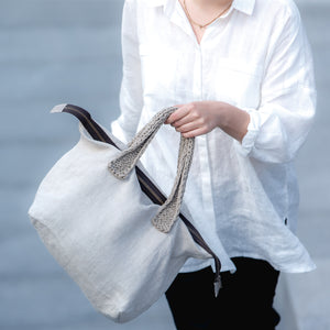 Midi linen bag BURĖ with linen handles
