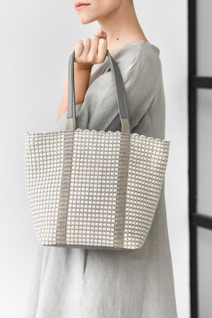 Handwoven Tote Bag AUSTĖ #20 white leather and linen