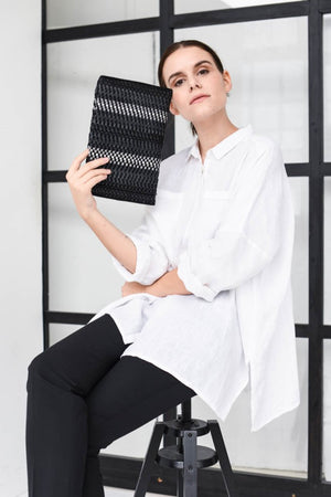 Handwoven Clutch AUSTĖ #34 black leather, linen, reflective
