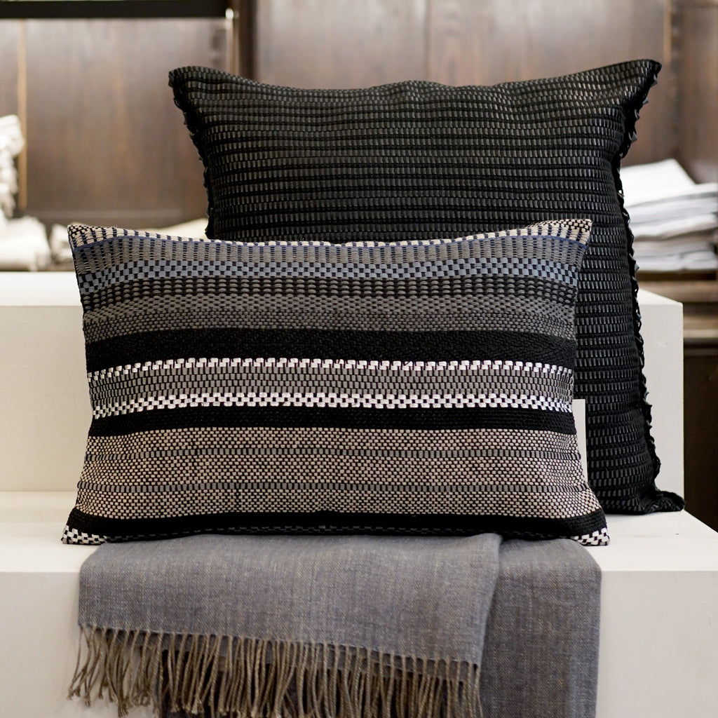 Handwoven Cushion Cover AUSTE blue/silver leather and linen