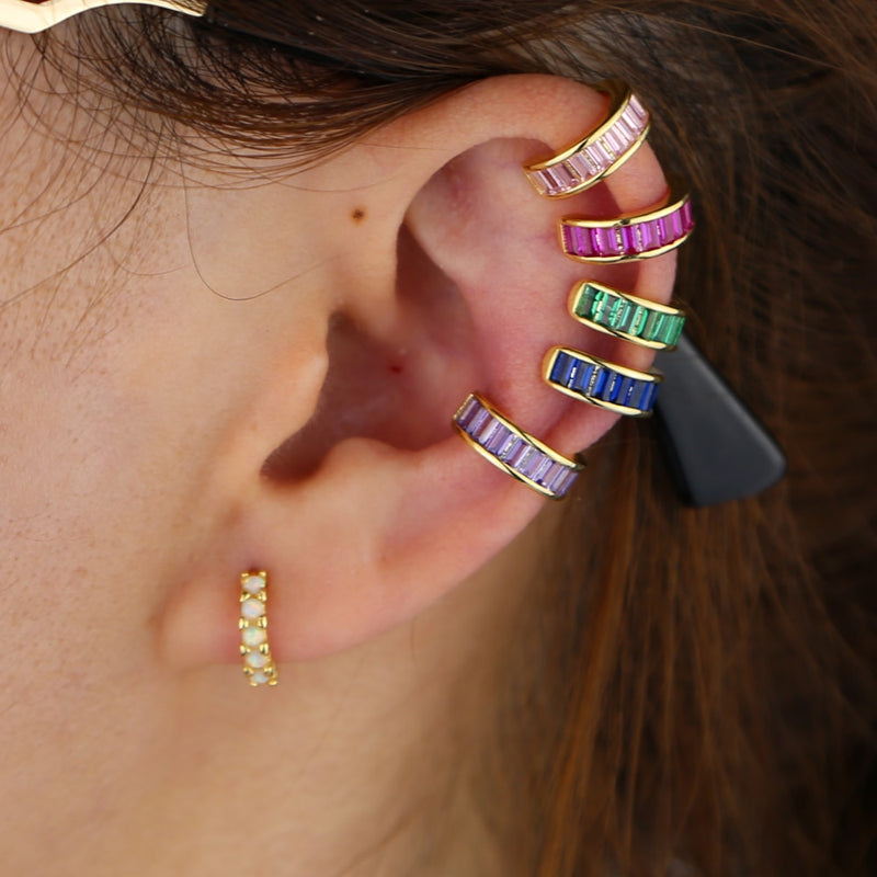 Multicolor Baguette Ear Cuff