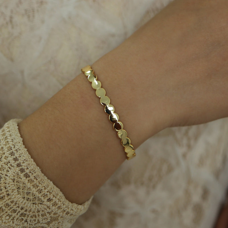 Flattened Gold Disc Cuff
