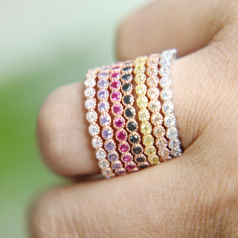 Bezel Stacking Bands (Multiple Colors)