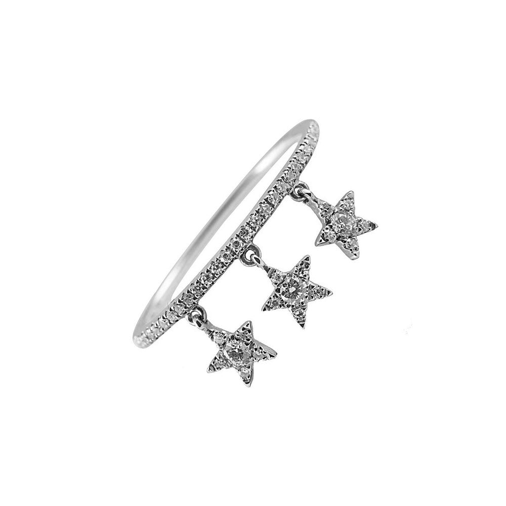 Falling Star Pave Ring