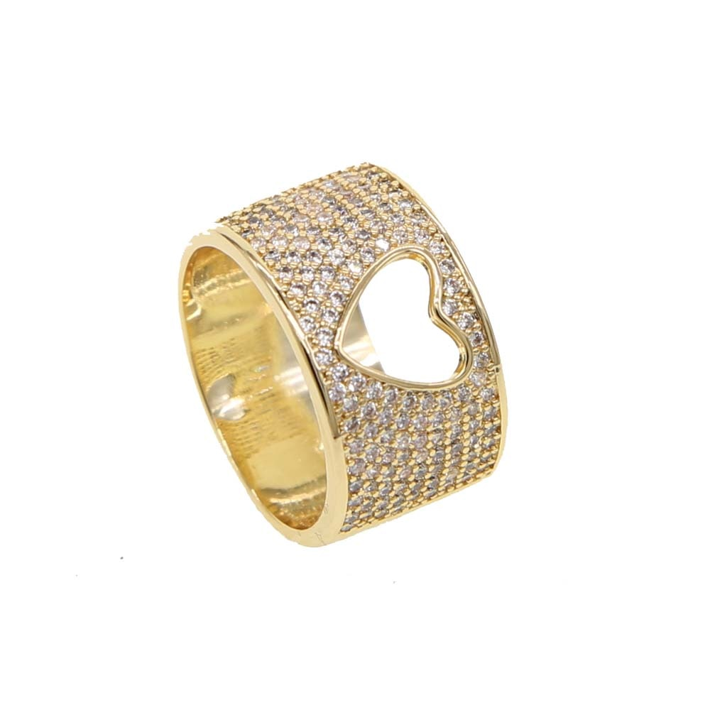 Open Heart Pave Ring