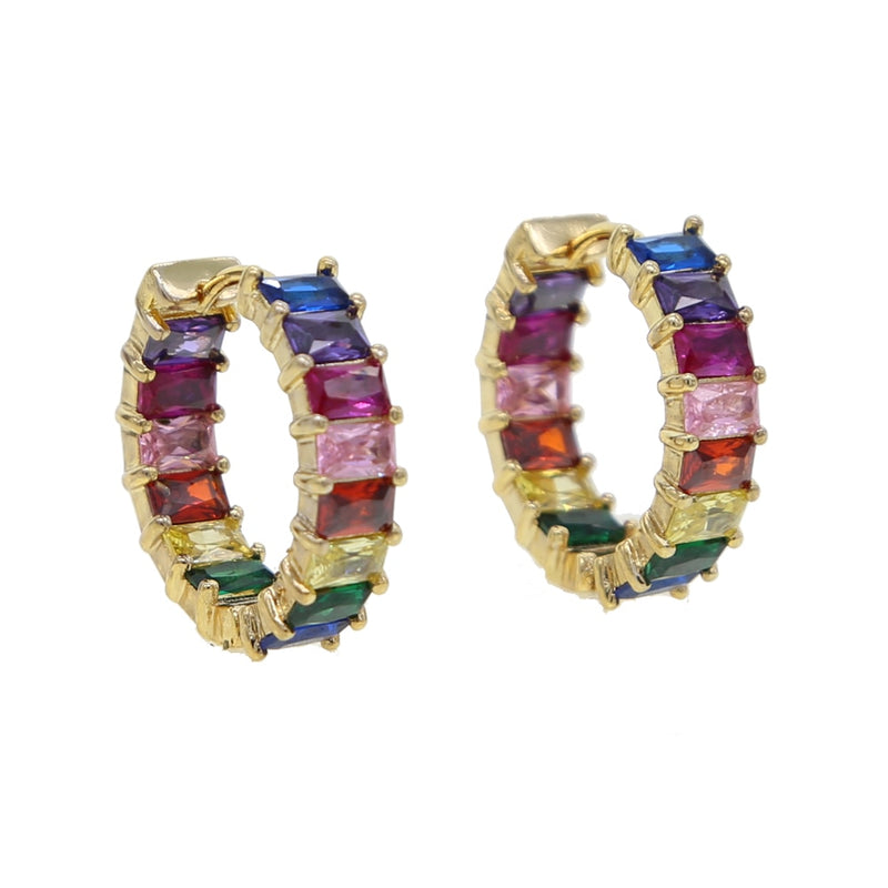 Reese Rainbow Baguette Huggie Earrings