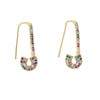 Gwen Rainbow Safety Pin Earrings