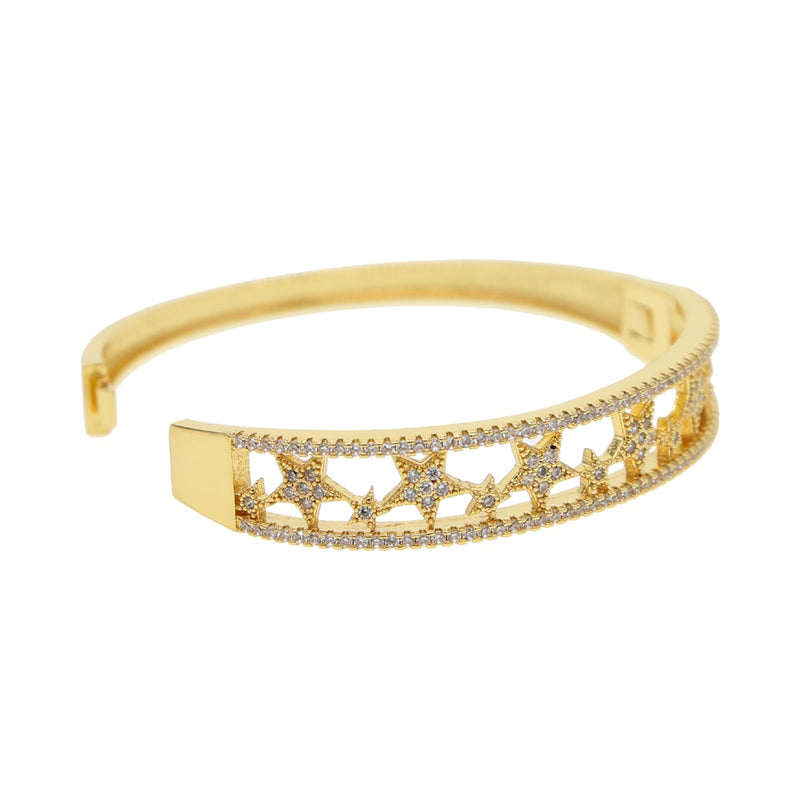 Gold Open Star Bangle