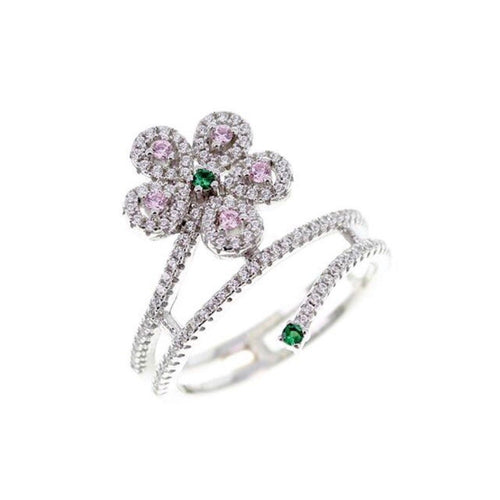 Flower Twist Pave Ring