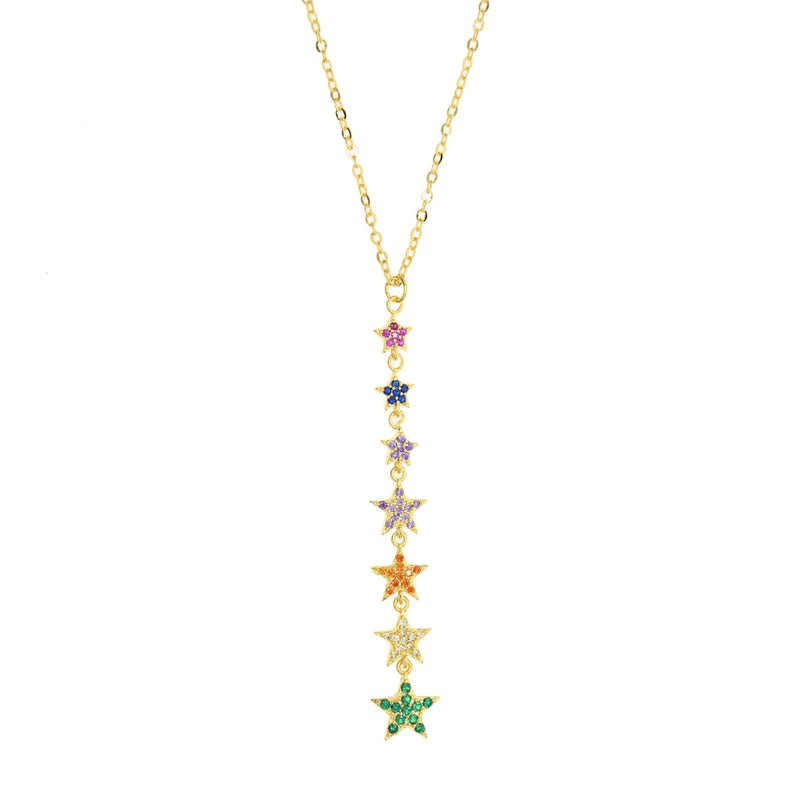 Rainbow Star Lariat Necklace