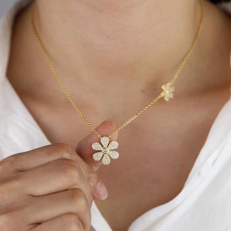 Double Flower Pave Pendant