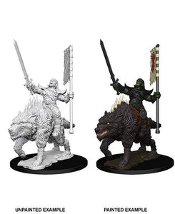 Pathfinder Battles Deep Cuts Orc on Dire Wolf