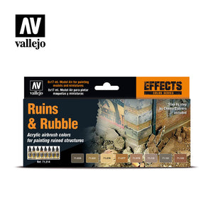 Vallejo Model Air Ruins & Rubble 8 Colour Acrylic Paint Set
