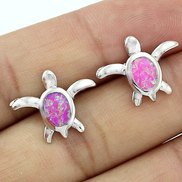 TURTLE Pink Opal Earrings