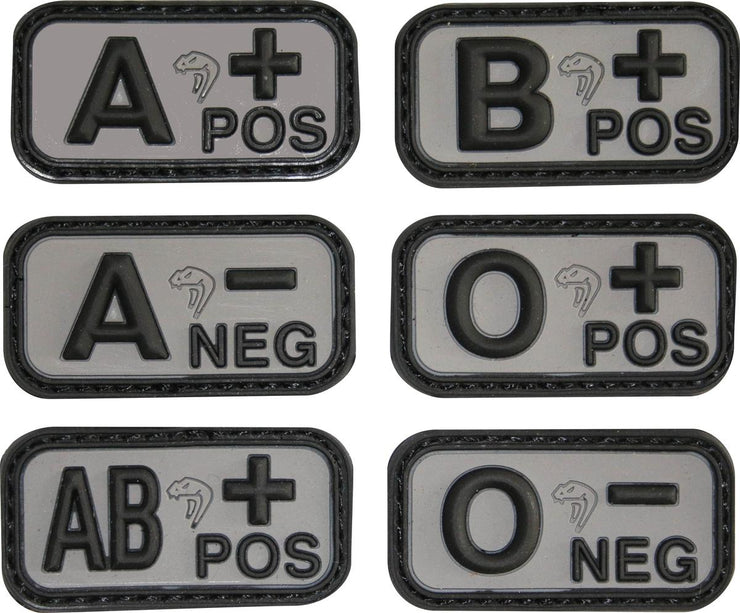 Blood Group Rubber Patches - Black A-
