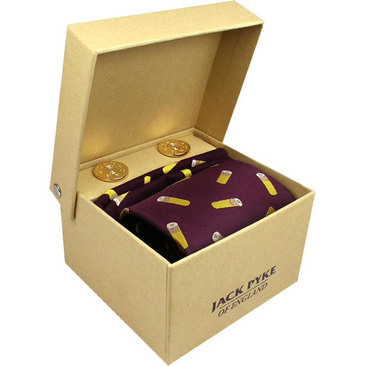 Jack Pyke Tie, Hanky and Cufflinks Gift Set - Cartridge Wine