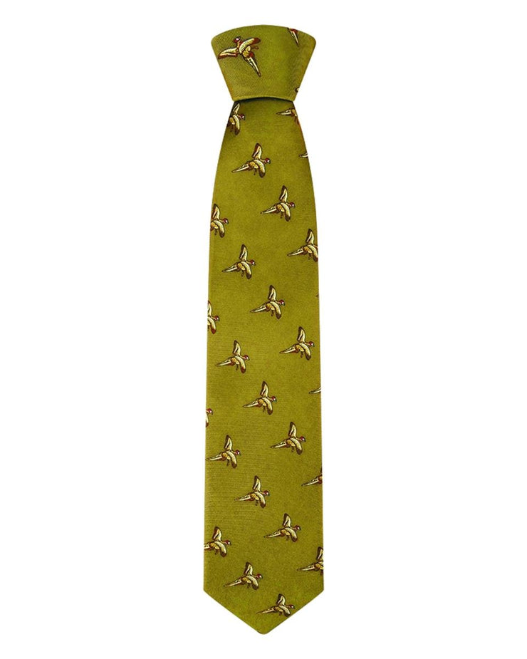 Hoggs of Fife Silk Country Tie  lying Pheasants on Gold