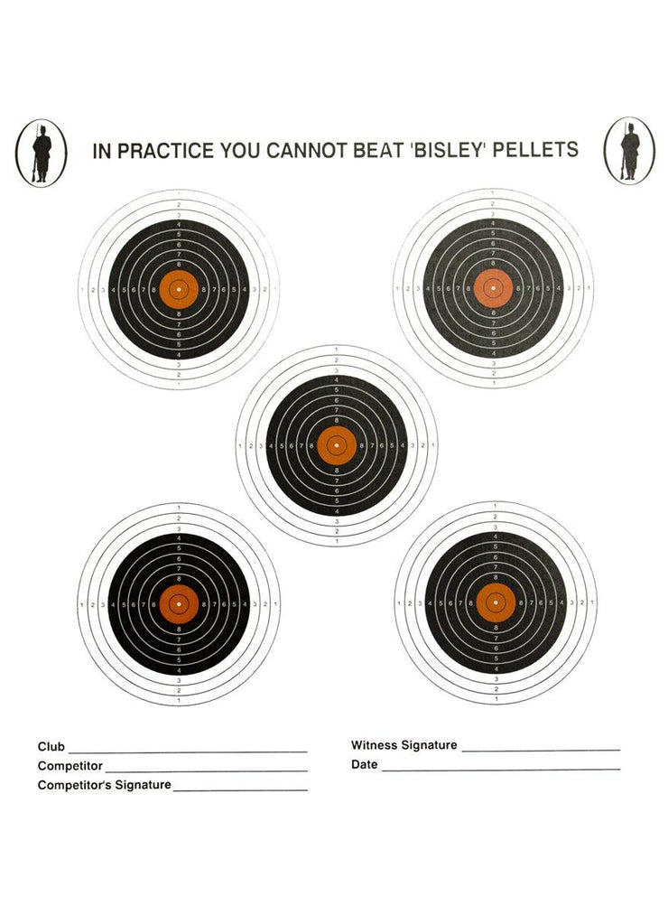 Bisley 14cm Five Targets Economy Card Grade 2 Pack of 100