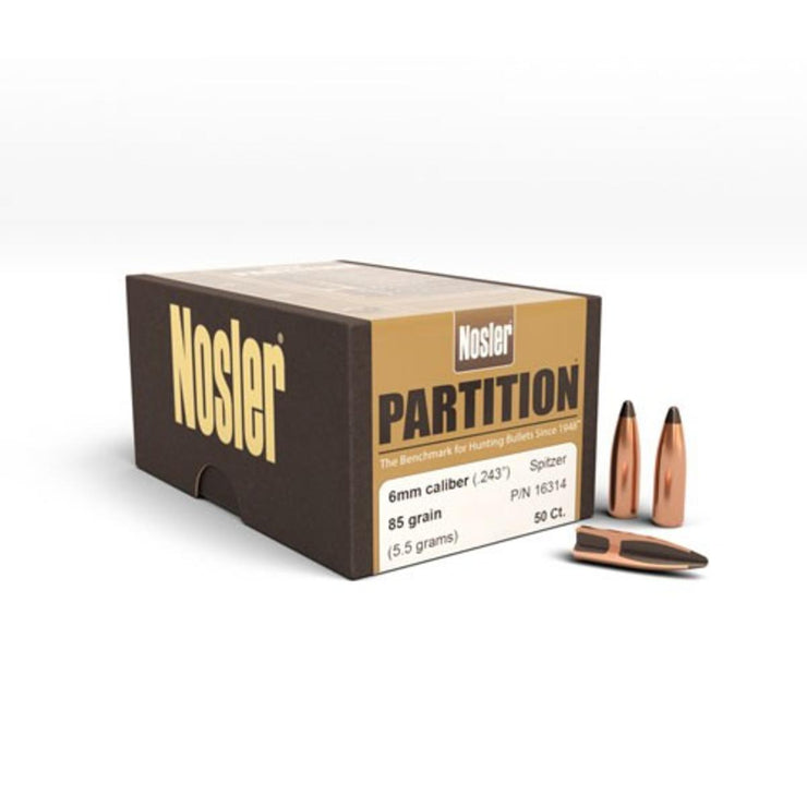 Nosler Sample Pack of Partition Projectiles 6mm 85gr