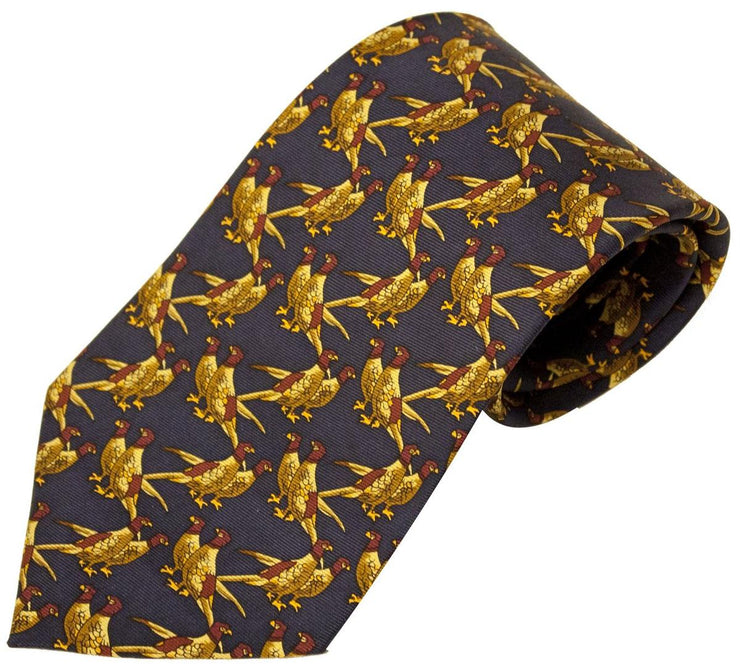 Bisley Solid Blue Pheasants Silk
