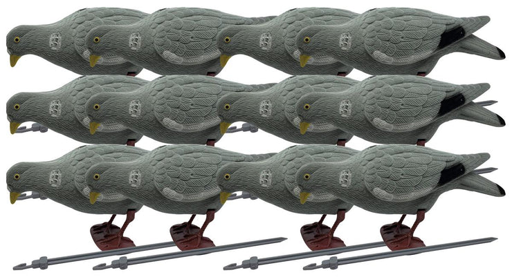 BushWear Pack of 12 Flocked Pigeon Decoy (Head Down)