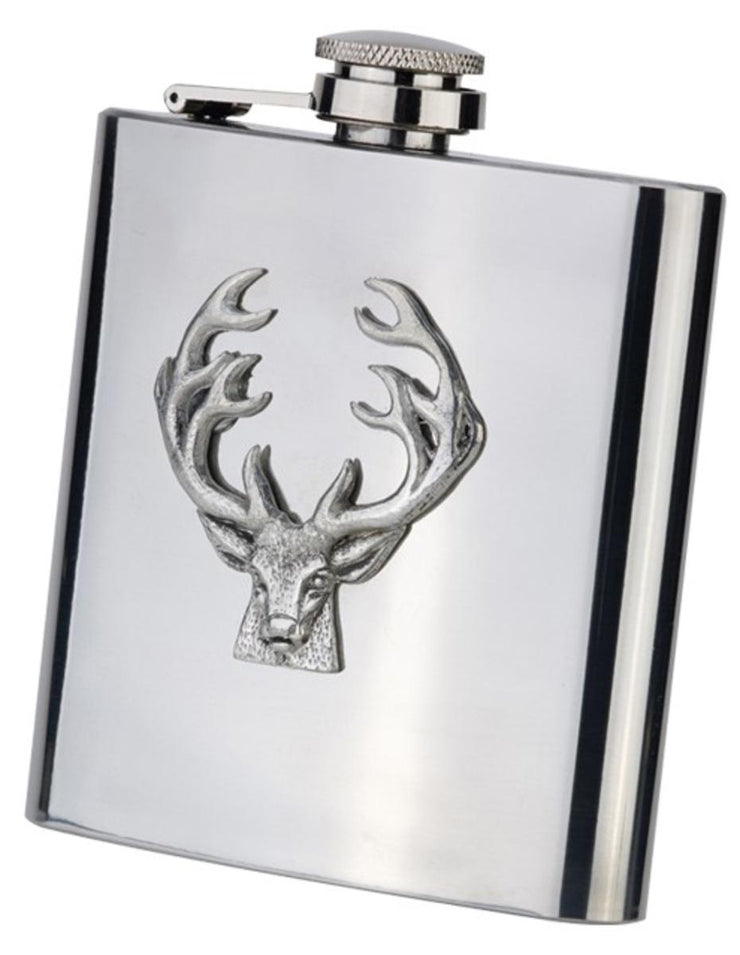 Bisley 6oz Stainless Hip Flask with Pewter Stag in Presentation Box